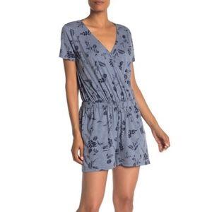 SUSINA - Floral Short Sleeve Romper Blue Floral